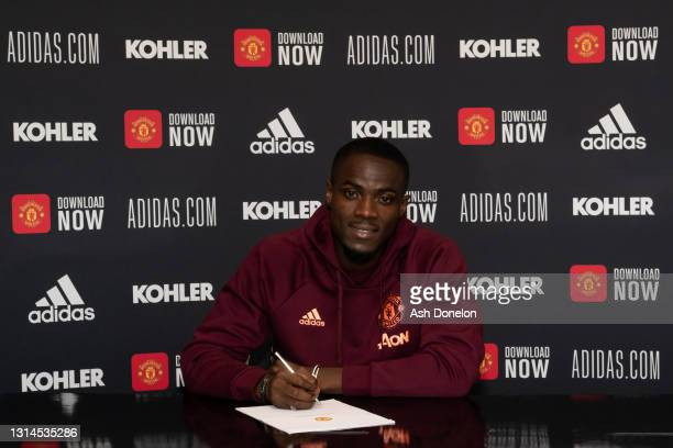 Eric Bailly of Manchester United poses after signing a contract extension at Aon Training Complex on April 26, 2021 in Manchester, England.