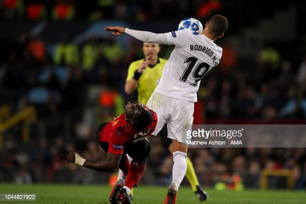 Eric Bailly of Manchester United reacts after an elbow from Rodrigo Moreno of Valencia during the Group H match of the UEFA Champions League between...