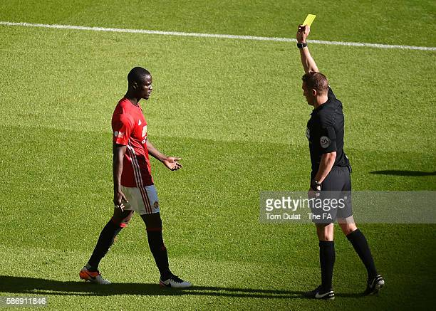 Eric Bailly of Manchester United receives a yellow card during The FA Community Shield match between Leicester City and Manchester United at Wembley...