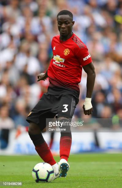 Eric Bailly of Manchester United runs with the ball during the Premier League match between Brighton Hove Albion and Manchester United at American...