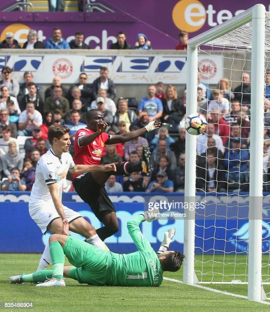 Eric Bailly of Manchester United scores their first goal during the Premier League match between Swansea City and Manchester United at Liberty...