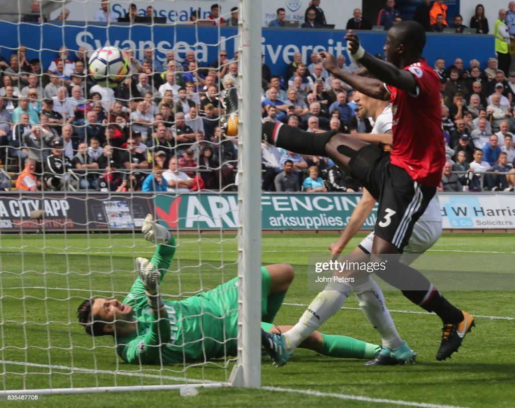 Eric Bailly of Manchester United scores their first goal during the Premier League match between Swansea City and Manchester United at Liberty Stadium on August 19, 2017 in Swansea, Wales.