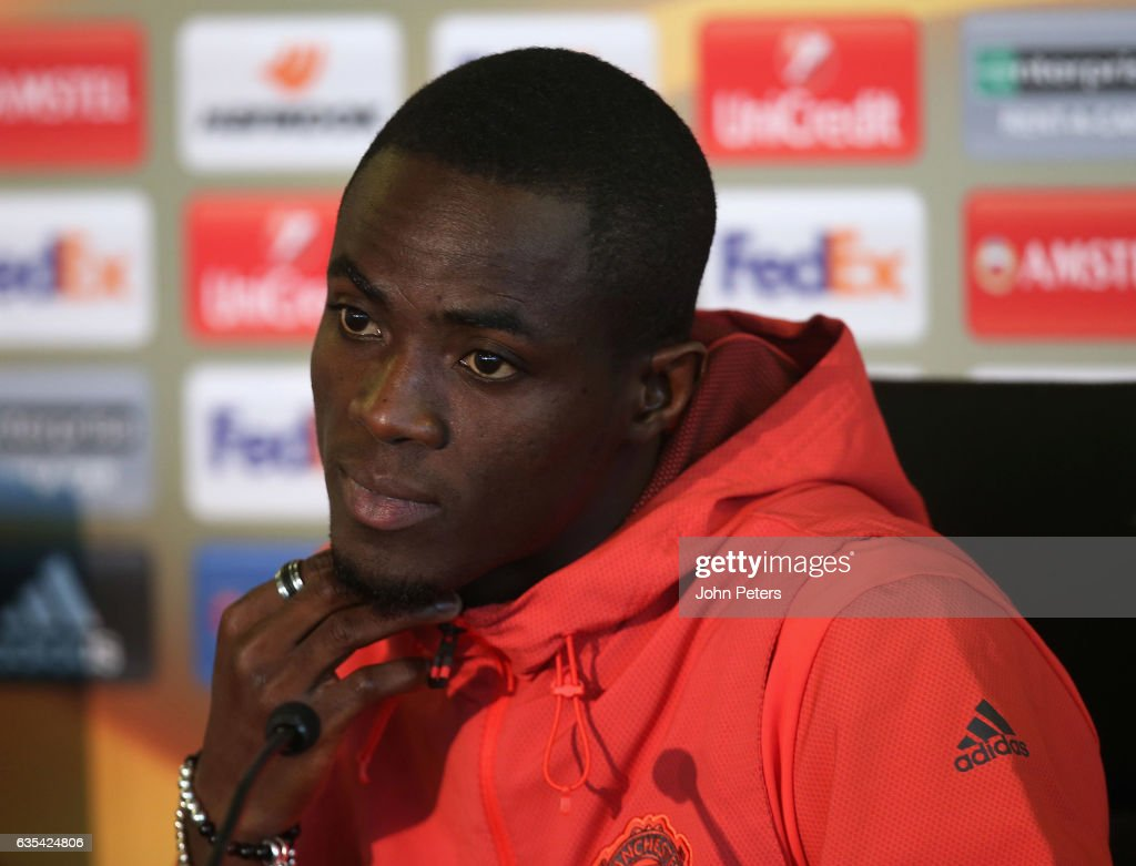 Eric Bailly of Manchester United speaks during a press conference at Aon Training Complex on February 15, 2017 in Manchester, England.