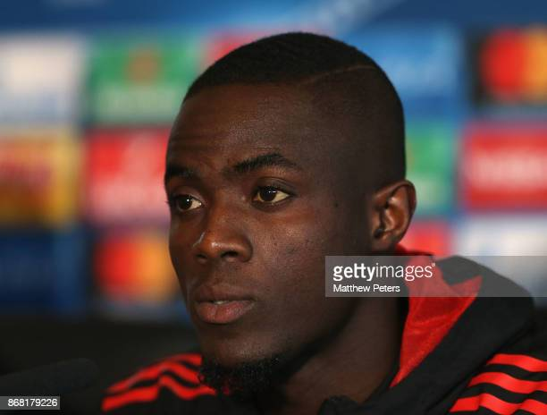 Eric Bailly of Manchester United speaks during a press conference at Aon Training Complex on October 30 2017 in Manchester England