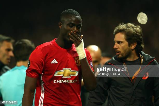 Eric Bailly of Manchester United walks off after being sent off during the Uefa Europa League semi final second leg match between Manchester United...