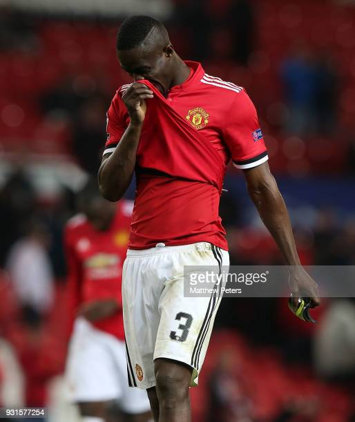 Eric Bailly of Manchester United walks off after the UEFA Champions League Round of 16 Second Leg match between Manchester United and Sevilla FC at...