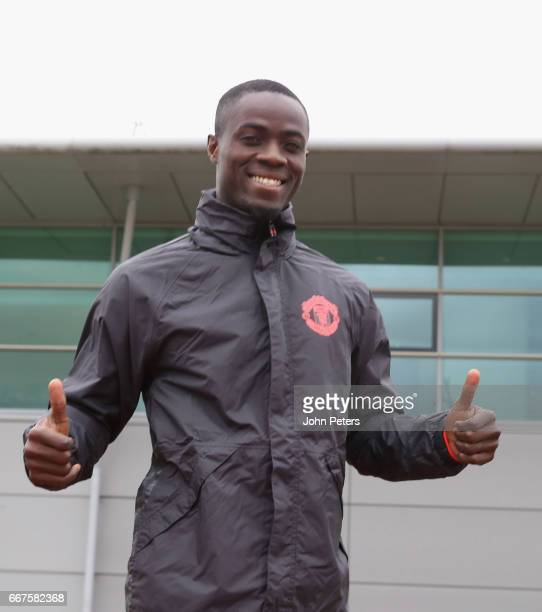 Eric Bailly of Manchester United walks out ahead of a first team training session at Aon Training Complex on April 12, 2017 in Manchester, United...