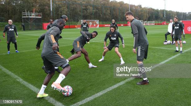 Eric Bailly Timothy FosuMensah Edinson Cavani Nemanja Matic Alex Telles of Manchester United in action during a first team training session at Aon...