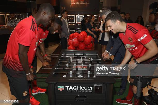 Eric Bailly Timothy FosuMensah Vice President of Marketing for TAG Heuer Andrea Soriani and Diogo Dalot attend the Launch of New TAG Heuer Manchester...