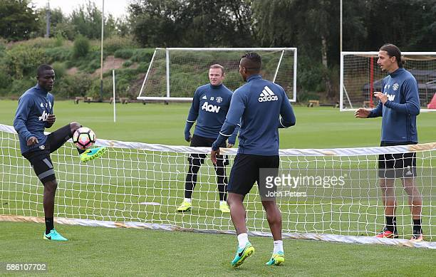 Eric Bailly Wayne Rooney Antonio Valencia and Zlatan Ibrahimovic of Manchester United in action during a first team training session at Aon Training...