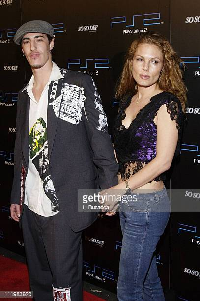 Eric Balfour and Francoise during Playstation 2 Grammy Party hosted by Jermaine Dupri Arrivals at Pacific Design Center in West Hollywood California...