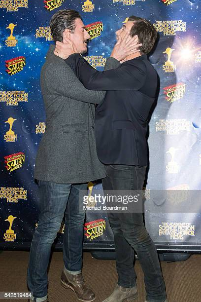 Eric Balfour and Lucas Bryant pose in the press room at the 42nd Annual Saturn Awards at The Castaway on June 22 2016 in Burbank California