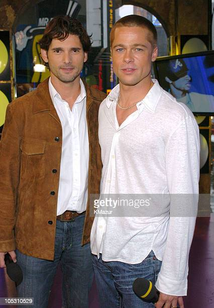 Eric Bana and Brad Pitt during Brad Pitt and Eric Bana Visit MTV's TRL May 3 2004 at MTV Studios Times Square in New York City New York United States