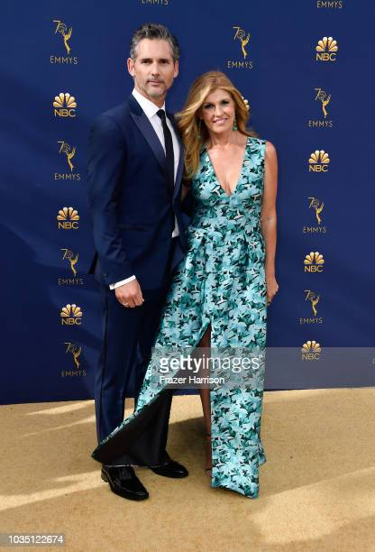 Eric Bana and Connie Britton attend the 70th Emmy Awards at Microsoft Theater on September 17 2018 in Los Angeles California