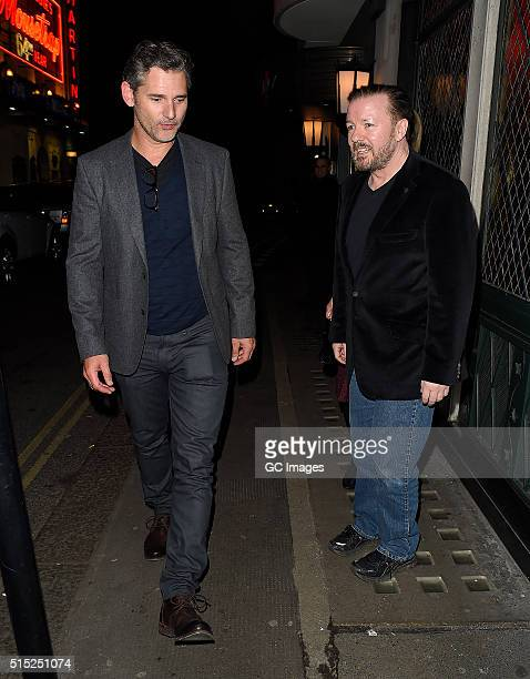 Eric Bana and Ricky Gervais leave The Ivy restaurant in Covent Garden on March 12 2016 in London England