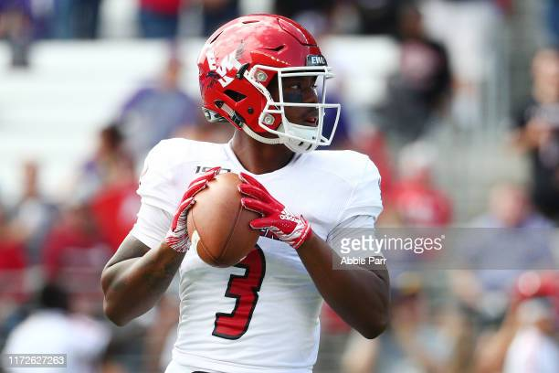 Eric Barriere of the Eastern Washington Eagles looks to throw the ball in the first quarter against the Washington Huskies during their game at Husky...