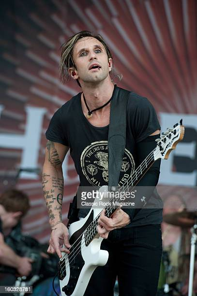 Eric Bass of American rock band Shinedown performing live onstage at Download Festival June 10 2012