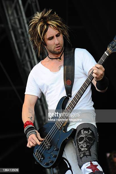 Eric Bass of Shinedown performing live on stage at Download Festival taken on June 14 2009 Photo by Rob Monk/Metal Hammer Magazine/Future via Getty...