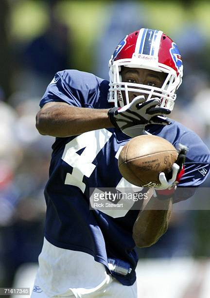 Eric Bassey of the Buffalo Bills makes a catch during training camp on August 9 2006 at St John Fisher College in Pittsford New York