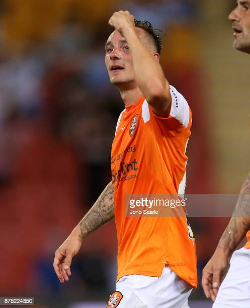 Eric Bautheac of Brisbane Roar celebrates his goal during the round seven ALeague match between Brisbane Roar and Melbourne City at Suncorp Stadium...