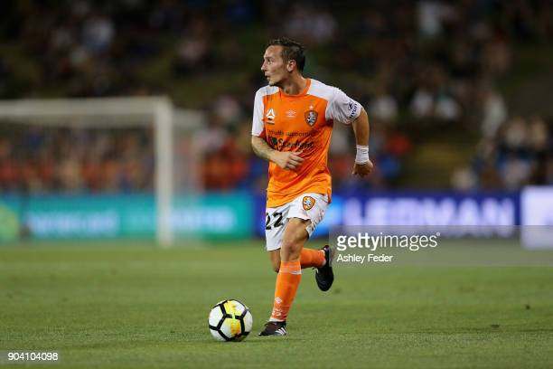 Eric Bautheac of Brisbane Roar in action during the round 16 ALeague match between the Newcastle Jets and the Brisbane Roar at McDonald Jones Stadium...