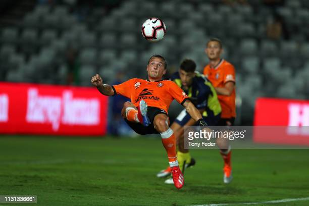Eric Bautheac of Brisbane Roar scores a goal during the Round 20 ALeague Match between the Central Coast Mariners and Brisbane Roar FC at Central...
