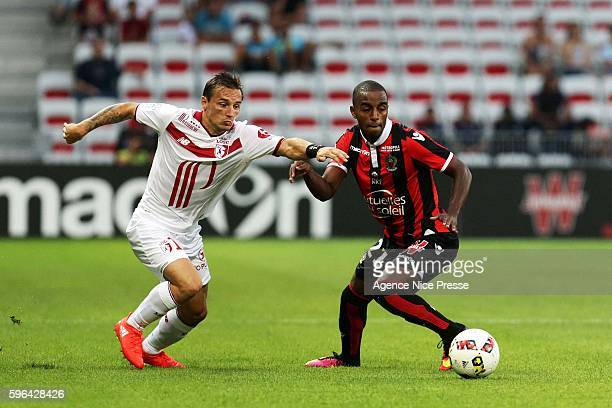 Eric Bautheac of Lille and Ricardo Pereira of OGC Nice during the French Ligue 1 between Nice and Lille at Stade Allianz Rivera on August 27 2016 in...