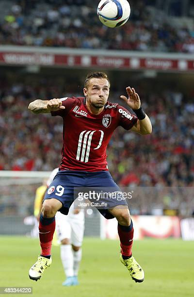 Eric Bautheac of Lille in action during the French Ligue 1 match between Lille OSC and Paris SaintGermain at Grand Stade Pierre Mauroy on August 7...