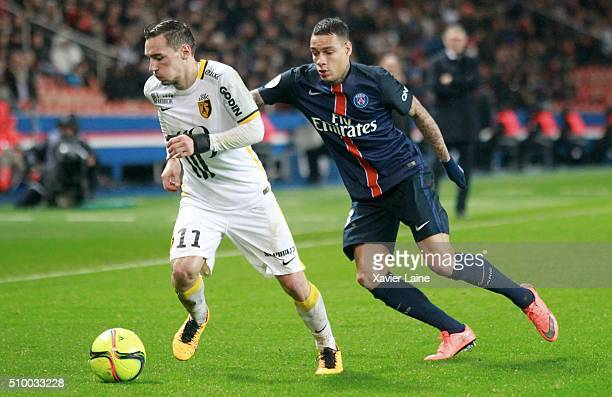 Eric Bautheac of Lille LOSC in action with Gregory Van Der Wiel of Paris SaintGermain during the French Ligue 1 between Paris SaintGermain and Lille...