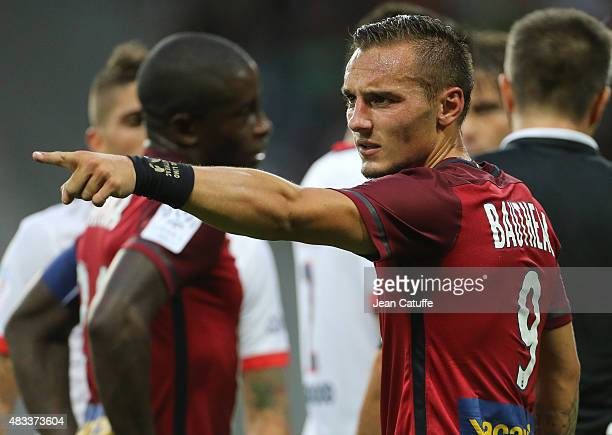 Eric Bautheac of Lille reacts during the French Ligue 1 match between Lille OSC and Paris SaintGermain at Grand Stade Pierre Mauroy on August 7 2015...