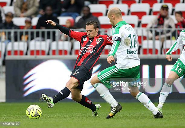 Eric Bautheac of Nice and Renaud Cohade of SaintEtienne in action during the French Ligue 1 match between OGC Nice and AS SaintEtienne ASSE at the...