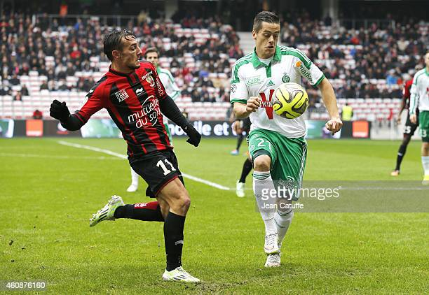 Eric Bautheac of Nice and Romain Hamouma of SaintEtienne in action during the French Ligue 1 match between OGC Nice and AS SaintEtienne ASSE at the...