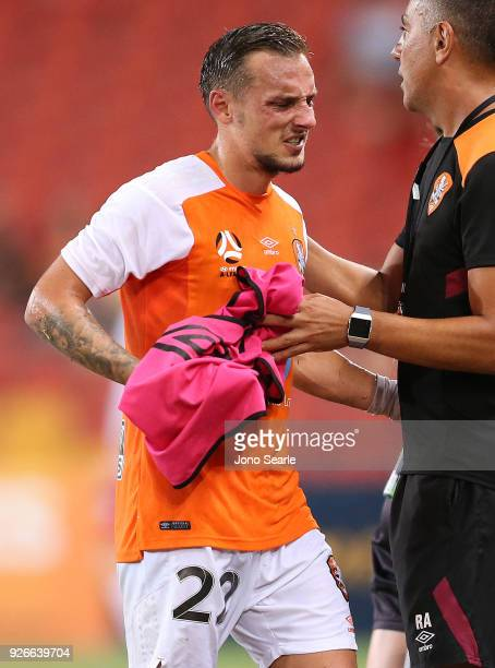 Eric Bautheac of the Brisbane Roar reacts after being substituted during the round 22 ALeague match between the Brisbane Roar and Adelaide United at...