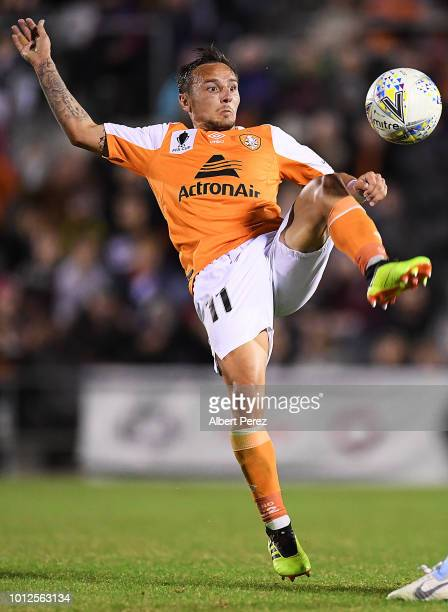 Eric Bautheac of the Roar in action during the FFA Cup round of 32 match between Brisbane Roar and Melbourne City at Dolphin Stadium on August 7 2018...