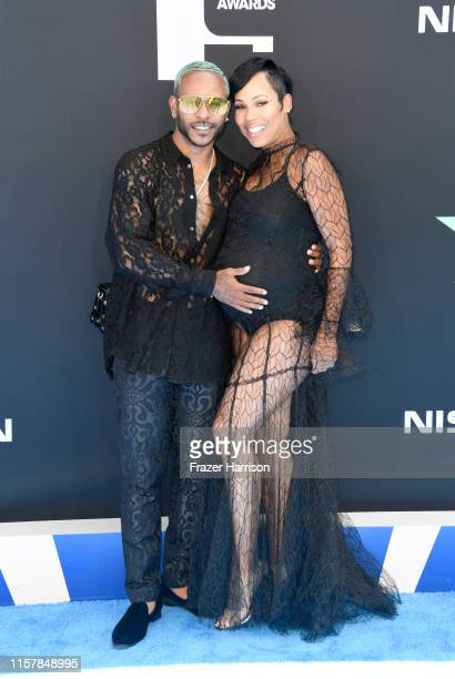 Eric Bellinger and La'Myia Good attend the 2019 BET Awards on June 23 2019 in Los Angeles California