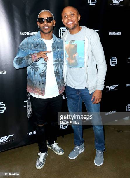 Eric Bellinger and Walter Mosley attend Eric Bellinger's Reveal Party hosted by Teyana Taylor and Wale on January 31 2018 in Burbank California