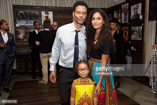 Eric Benet, Manuela Testolini and Lucia Bella Benet attend the 'In A Perfect World Give 100 Gala' at The District Restaurant on November 17, 2016 in...