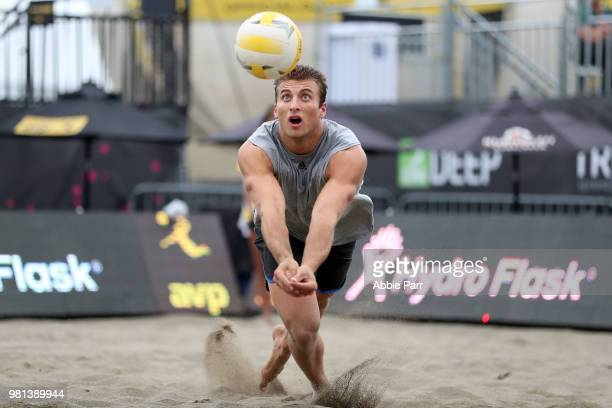 Eric Beranek dives for the ball in the match against Jake Gibb and Taylor Crabb during opening rounds of the AVP Seattle Open at Lake Sammamish State...