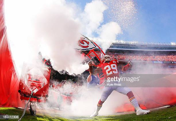 Eric Berry of the Kansas City Chiefs heads through the tunnel during player introductions before game against the Oakland Raiders October 13 2013 at...