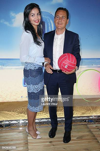 Eric Besson and his wife Jamila attend the 'Camping 3' Paris Premiere at Gaumont Champs Elysees on June 23 2016 in Paris France
