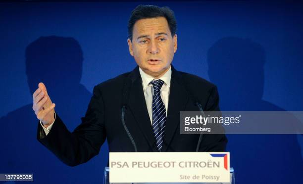 Eric Besson France's industry minister speaks during a visit to PSA Peugeot Citroen's Poissy production facility in Paris France on Friday Jan 27...