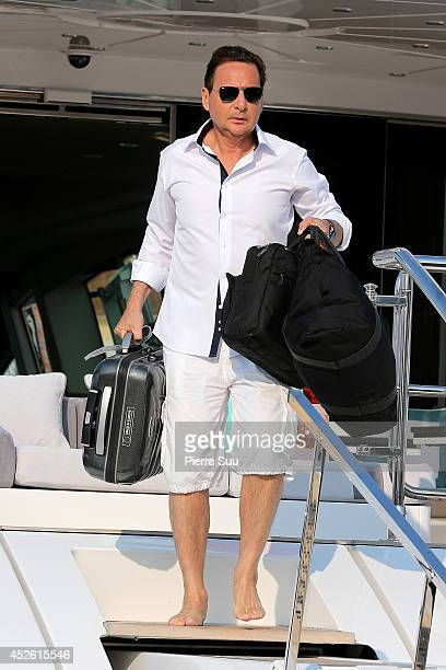 Eric Besson leaves a yacht on July 24 2014 in SaintTropez France