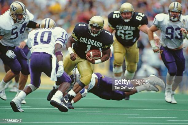 Eric Bieniemy, Running Back for the University of Colorado Buffaloes runs the football downfield during the NCAA Pac -10 college football game...