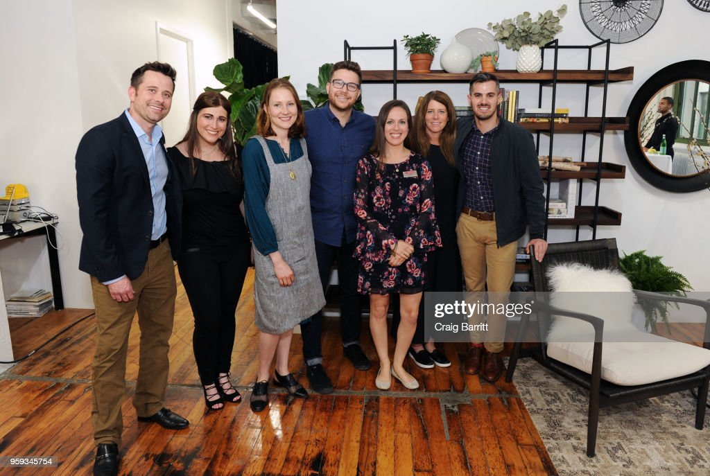 Eric Black, Shaye Cohen, Rhoda Boone, Matt Ducker, Rachel Weise, Ashley Connor and Bryan Wilson attend the AD, Bon Appetit and Delta Faucet toast of the Conde Nast Kitchen Studio on May 16, 2018 in New York City.