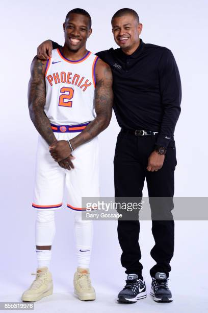 Eric Bledsoe and Head Coach Earl Watson of the Phoenix Suns pose for a portrait at the Talking Stick Resort Arena in Phoenix Arizona NOTE TO USER...