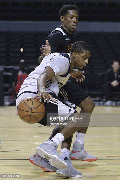 Eric Bledsoe and Tyler Ulis dribles the ball during the Phoenix Suns training session at Arena Ciudad de Mexico on January 11, 2017 in Mexico City,...