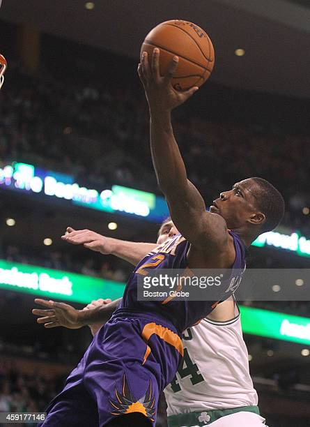 Eric Bledsoe goes to the basket. The Boston Celtics host the Phoenix Suns in second-half action, at the TD Garden, on Monday, November 17, 2014.