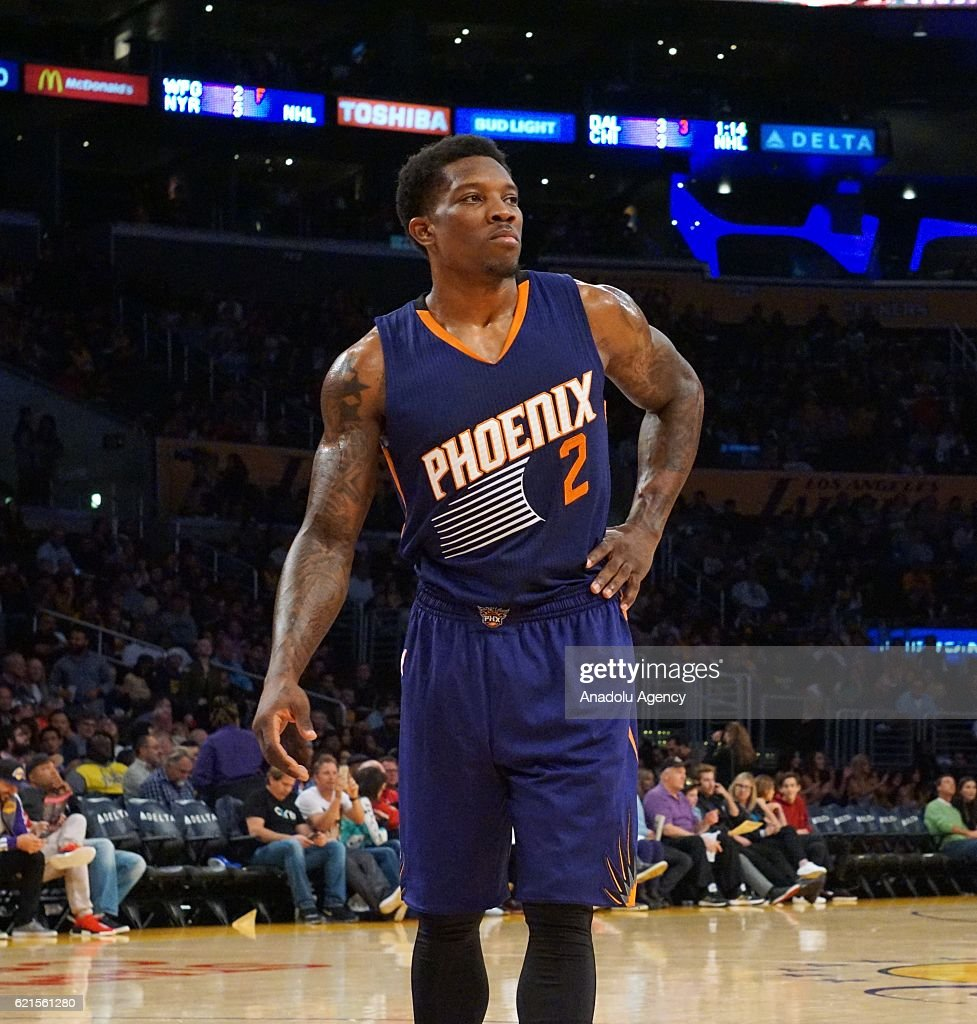 Eric Bledsoe of Phoenix Suns gestures during a NBA game between Los Angeles Lakers and Phoenix Suns at Staples Center in Los Angeles, USA on November 06, 2016.