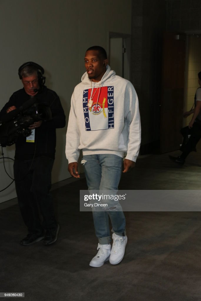 Eric Bledsoe #6 of the Milwaukee Bucks arrives to the arena prior to Game Three of Round One of the 2018 NBA Playoffs against the Boston Celtics on April 20, 2018 at the BMO Harris Bradley Center in Milwaukee, Wisconsin.