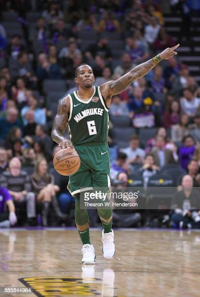 Eric Bledsoe of the Milwaukee Bucks dribbles the ball up court against the Sacramento Kings during their NBA basketball game at Golden 1 Center on...